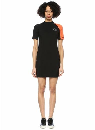 T By Alexander Wang Dik Yaka Yarım Kol Yüzücü Elbise Siyah